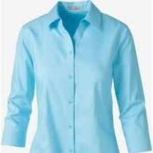 CHICO'S Lorena Teal Button Down 3/4 Sleeve Blouse